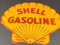 "VINTAGE SHELL GASOLINE SEASHELL 12"" PORCELAIN METAL GAS OIL ADVERTISING SIGN"