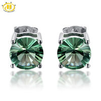 8.00mm Round Natural Green Fluorite Stud Earrings 5.14ctw in Sterling Silver 925