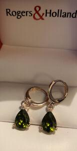 Peridot Drop Earrings 10kt. Rose Gold