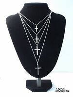 Sterling Silver Latin Cross, Crucifix Pendant, Curb Chain Necklace in Gift Bag.