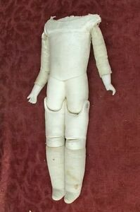 Antique German Leather Doll Body Jointed Hips Bisque Hands for Shoulder Head