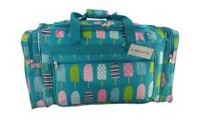 Duffel Bag, 22 Inch Duffel Bag With 3 Zip Pockets - Turquoise/Popsicles * New *