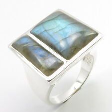 925 Silver LABRADORITE Real Stone Ring Size 9 13.5 Grams Christmas Eve Sale