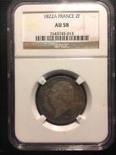 2 francs Louis XVIII 1822 A (Paris) AU58 / SUP58 (coins tournés + 5 min) par NGC