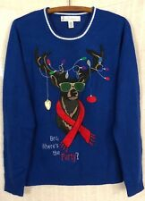 Jolly Sweaters Men's Bro, Where's The Party Blue Ugly Christmas Sweater~Medium M