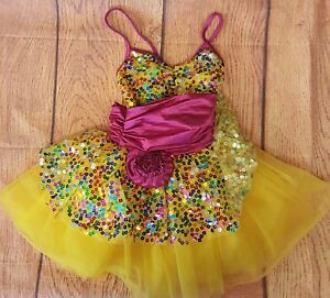 Weissman Infant Child Costume Yellow Pink Sequins Tule