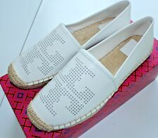 NIB Authentic TORY BURCH Perforated Logo Leather Flat Espadrille in White Sz 7