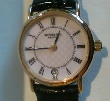 RAYMOND WEIL LADIES WATCH 18ct, Leather Strap. New in box with Certificate