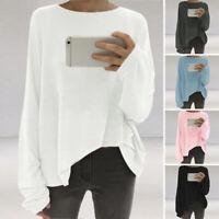 Autumn Women Casual Plain Blouse Shirt Basic Tee Pullover Sweatshirt Top Plus