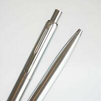 BAOER #001 Brushed Steel Chrome Trim Ballpoint Pen Blue/Black Ink G2 - UK SOLD