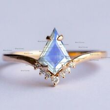 Genuine SI Clarity Diamond & Moonstone Ring 14k Solid Yellow Gold Jewelry US7