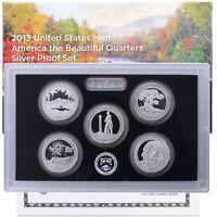 2013 S Proof Parks Quarter Set ATB 90% Silver Original Box & COA 5 Coins US Mint