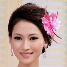 Ansteckblume Rose Perlen helles ROSA pink Blume Haargummi Brosche Federn 2 in 1