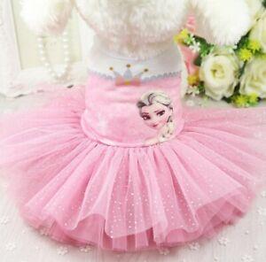 Cute Dog Tutu Dress Pet Dog Cat Frozen Princess Elsa Skirt Summer Apparel Outfit