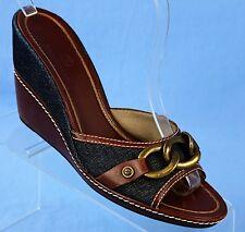 "Cole Haan Kina Denim/Brass Open Toe Wedge Shoes Womens Size 9 B 3.75"" Heel"