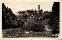 Zvíkov Tschechien s/w AK ~1920/30 Blick über den Fluss auf die Burg Klingenberg
