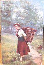 Irish Life Art Postcard BRINGING HOME TURF Basket Woman Tuck's Oilette Ireland