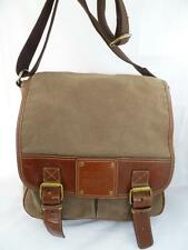 FOSSIL 54 USED MEN'S GREEN/BROWN CANVAS/LEATHER FLAP CROSSBODY/MESSENGER BAG