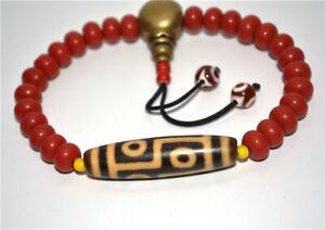 tibetan genuine antique six eyed dzi bead bracelet tibet real 6 eyes gzi amulet