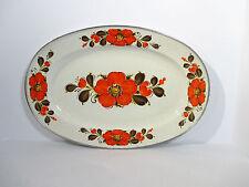 """Vintage Enamelware Platter Sanko Ware Show Pans Orange Poppies Large 18""""x20"""""""