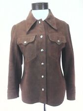Vintage 70s WOODSTOCK Suede Leather Jacket Brown Snap Up Hippie Women's XS RARE