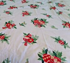 """Vtg Christmas Table Cloth Ornaments Pinecones Holly  Crafts? 52 x  79"""""""