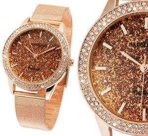 Damenuhr Quarz Armbanduhr Rotgold Glitzer Bling Mesh Milanaise Luxus Excellanc
