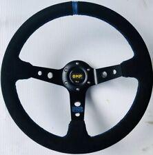 New 350mm Suede Leather Deep Dish Steering Wheel Blue Stripe Universal Racing