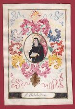 Heilige Scholastika Heiligenbild Santini Holy Card Pergament Pergamena Vellum
