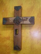 Rustic Old Door Wood Cross #11-Mexican Folk Art-11x15-Vintage Tin Tile-