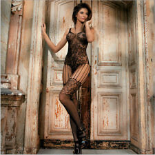 Hot Sexy Women Lace Net Hollow Lingerie Full Body Stocking Open Crotch pantyhose