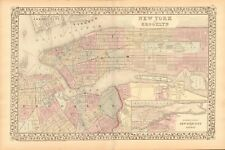 1874 ANTIQUE MAP - USA - PLAN, NEW YORK AND BROOKLYN, INSET NORTHERN PORTION