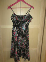 Ladies NEXT BLACK FLORAL DRESS UK SIZE 10 NEW WITH ORIGINAL TAGS RRP £48