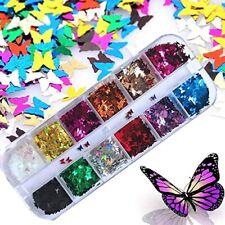 Decoracion Para Uñas Acrilicas Gel Brillo Natural De Mariposas 3D Foil 12 Color