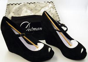 "NEW NIB Delman Black Wedge 4.5"" Heel Peep-Toe Mary Jane Suede Leather Shoes 10"