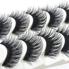 Fashion Blue & Black 5 Pairs Long Thick Cross False Eyelashes Makeup Eye Lashes