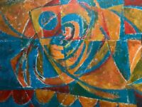 Large Abstract Cubist Fish Oil Painting Modern Contemporary Art Wall Hanging 90s