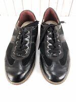 ECCO Women's Black Patent Leather Lace Up Sneaker Shoes Size US 7-7.5 / EU 38