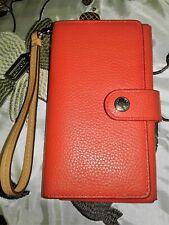 Coach Wallet Bifold Orange Pebble Leather Cell Phone Holder Wristlet Strap
