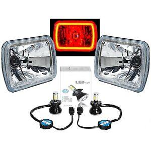 7X6 Plasma Red COB Halo Glass/Metal Headlight 40W LED Light Bulb Headlamp Pair