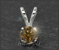 Diamant Anhänger mit 0,55ct aus 585 Gold, Brillant in Cognac Chamapgner, Neu