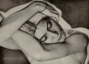 1929/75 Vintage MAN RAY Solarized Female Nude NATASHA Head Photo Engraving 11x14