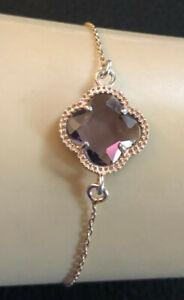 Rose Gold Sterling Silver Bracelet Amethyst Quatrefoil Dyadema Italy 925 #1156