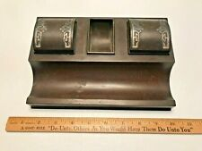 Vintage Heintz Art Co. Sterling Silver on Bronze Double inkwell Pen holder Desk