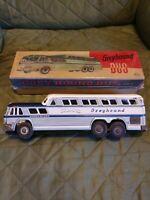 "Vtg. Greyhound Scenicruiser Stone Tin Friction Powered 10"" Bus, W/Box, #2531"