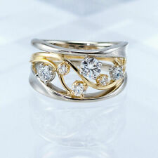 Fashion Two Tone 925 Sterling Silver Women White Sapphire Ring Jewelry Size 6-14