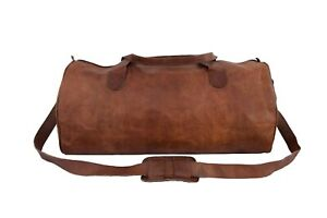 """23"""" Vintage Leather Duffle Bag Overnight Weekend Travel Carryon Hand Luggage"""