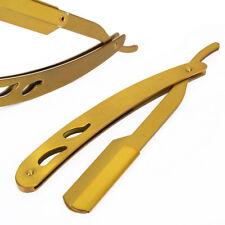 Pro Stainless Steel Straight Edge Barber Razor Gold Folding Shaving Shaver Salon