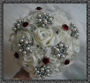 Bridesmaid Wedding Posy Bouquet  Diamante, Pearls, Vintage, Brooch bouquet