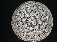 Antique lace hand made table cover mat doilie circular 47 cm diameter c.19 th C.